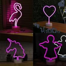 ZZEL ZYEL светодиодный неоновый свет ночи Фламинго Единорог сердце Ангела лампа батарея работает для стола дома Свадебные Рождество украшения