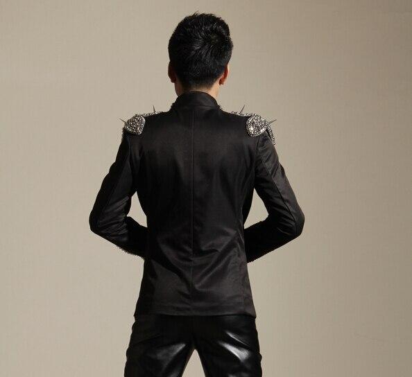 Bling Slim Dj Sänger Kostüm Fashion Kleidung Bar Punk Rivet Strass - Herrenbekleidung - Foto 3