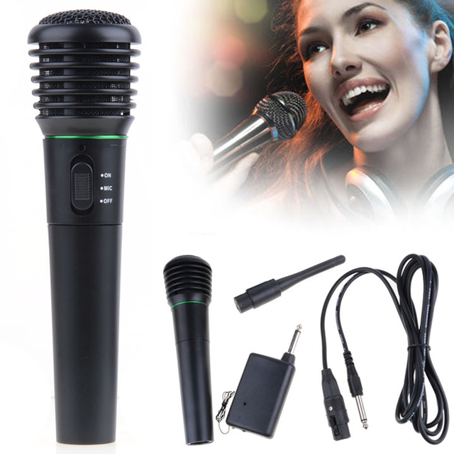 2016 New 2 in1 Wireless Microphone Wired Karaoke Music Mic Amplifier Handheld Receiver System Undirectional For Meetings Lecture