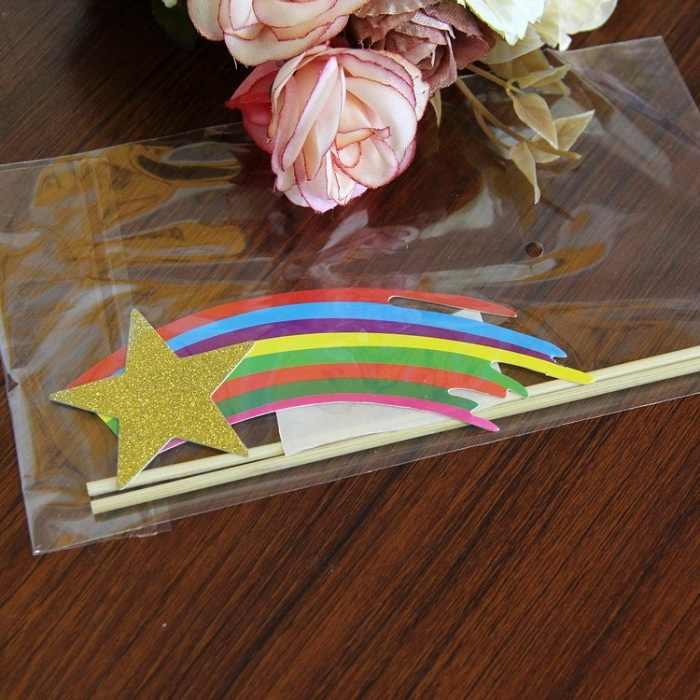 Cake Toppers Shooting Stars Rainbow Paper Cards Banner For Cupcake Wrapper Baking Cup Birthday Tea Party Wedding Decoration Wh