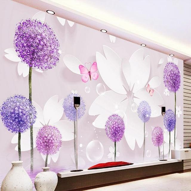 Custom 3D Room Landscape Wallpaper Dandelion Flowers Butterfly Wall