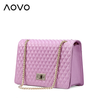 100 Natural Genuine Cow Leather Bag Lovely Chain Diamond Lattice Crossbody Bag Fashion Candy Colors Shoulder