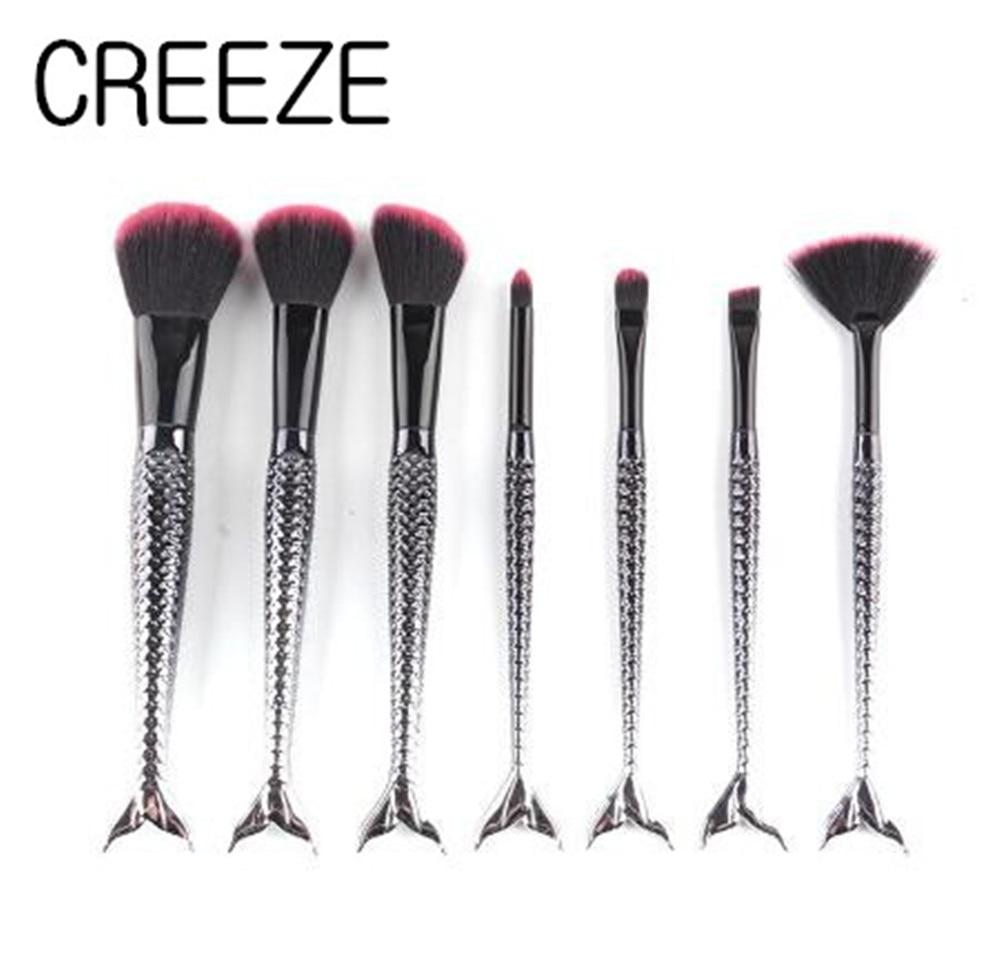 CREEZE New Black 7PCS Mermaid Makeup Brush Sets Red Wool Fiber Plastic Handle Foundation Blush Lip Eye Shadow Fan Brush
