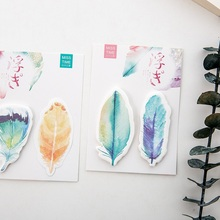 40 pcs/Lot Rainbow feather memo note Post it guestbook stick marker label Stationery Office accessories School supplies CM171 the rainbow feather