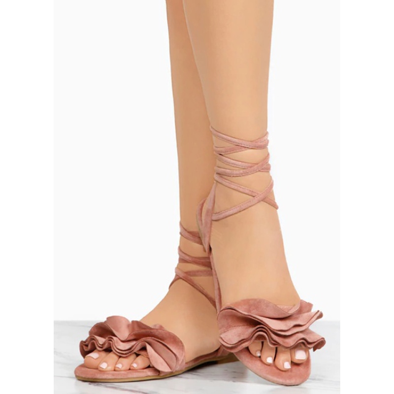 HTB1je83ynlYBeNjSszcq6zwhFXaT Plus Size Women's Sandal Ruffles Shoes Woman Cross Bandage Sandals Summer Shoes Flats Lace-up Ankle Strap Sandalias Mujer 2018