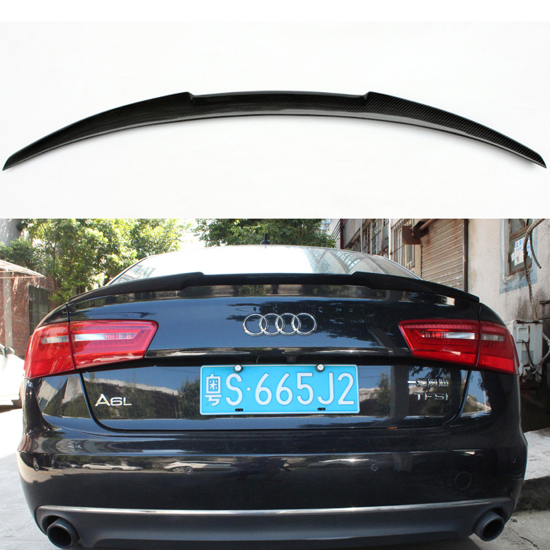 A6 c7 m4 style carbon fiber auto car rear trunk spoiler for Wing motors automobiles miami fl