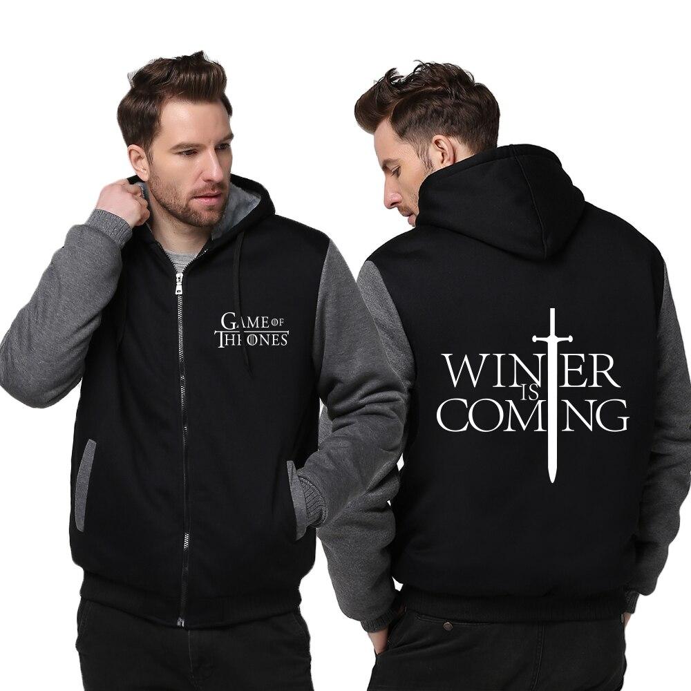 New Arrival Winter Hooded Hoodie Game of Thrones Men Hoodies & Sweatshirts Winter Is Coming Warm Coat Jacket Harajuku Hoody
