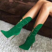 2020 Designers Women Green Stilettos Mid Calf Boots Suede Cut-outs High Heels Shoes Cross-tied Pointed Toe Gladiator