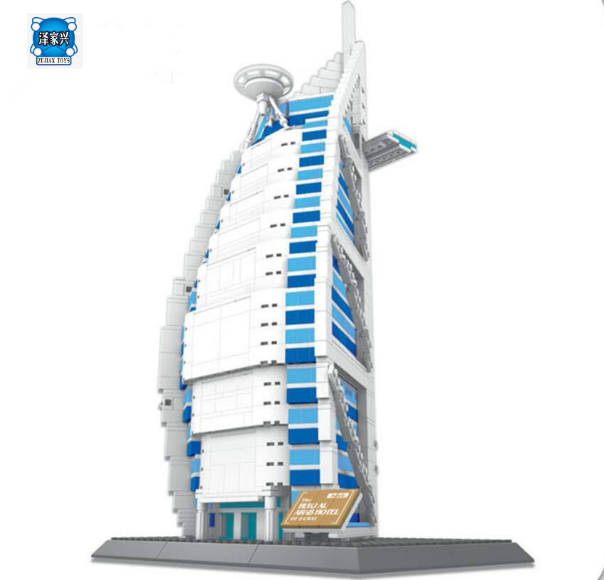 Wange 8018 New Famous Architecture Series The Burj Al Arab 3D Model Building Blocks Classic Toys Compatible with Lepines mr froger loz dutch windmill diamond block world famous architecture series design diy building blocks classic toys children
