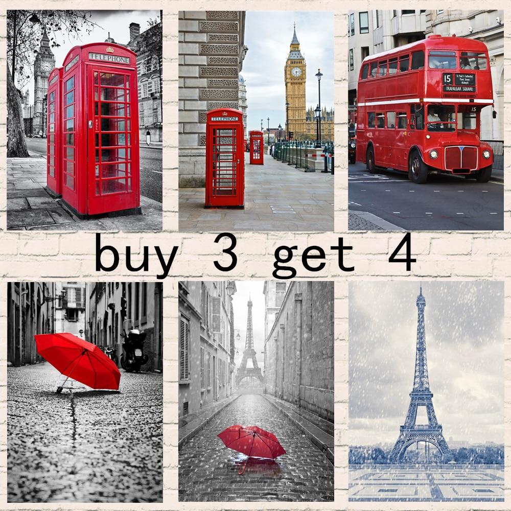 Современный Эйфелева башня с красным зонтом в Париже, уличные дорожные постеры и картина для домашнего декора комнаты, 3 получить 4 Наклейки на стену      АлиЭкспресс
