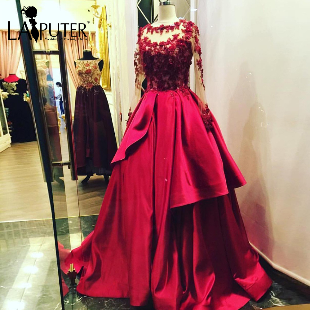 vestido de festa Beaded Flowers Appliques Illusion Long Sleeves Red Evening  Dress Floor Length Ball Gown ce62a4b1af2f
