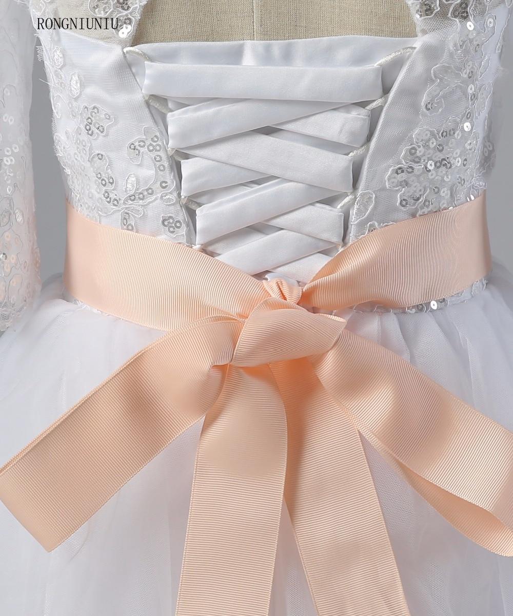 Flori rochie de fata 2017 Lace Up Pinke centura rochie de balet - Rochii de seară de nuntă - Fotografie 4