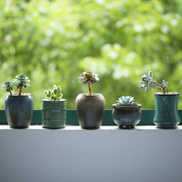Pottery Desktop Flower Pot Mini Ceramic Flower Pots Chinese Style Garden Flower Box 8 Type To
