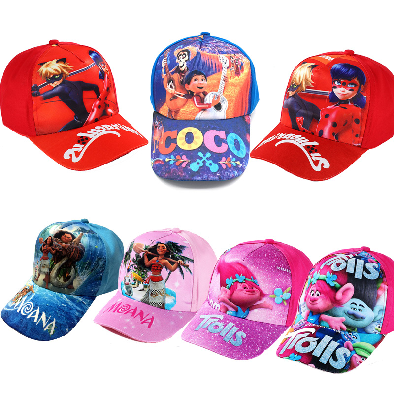 3D Cartoon Movie COCO Trolls Moana Miraculous Ladybug Kids Summer Sun Caps Sports Baseball Hats Kid Party Gift Action Figure Toy
