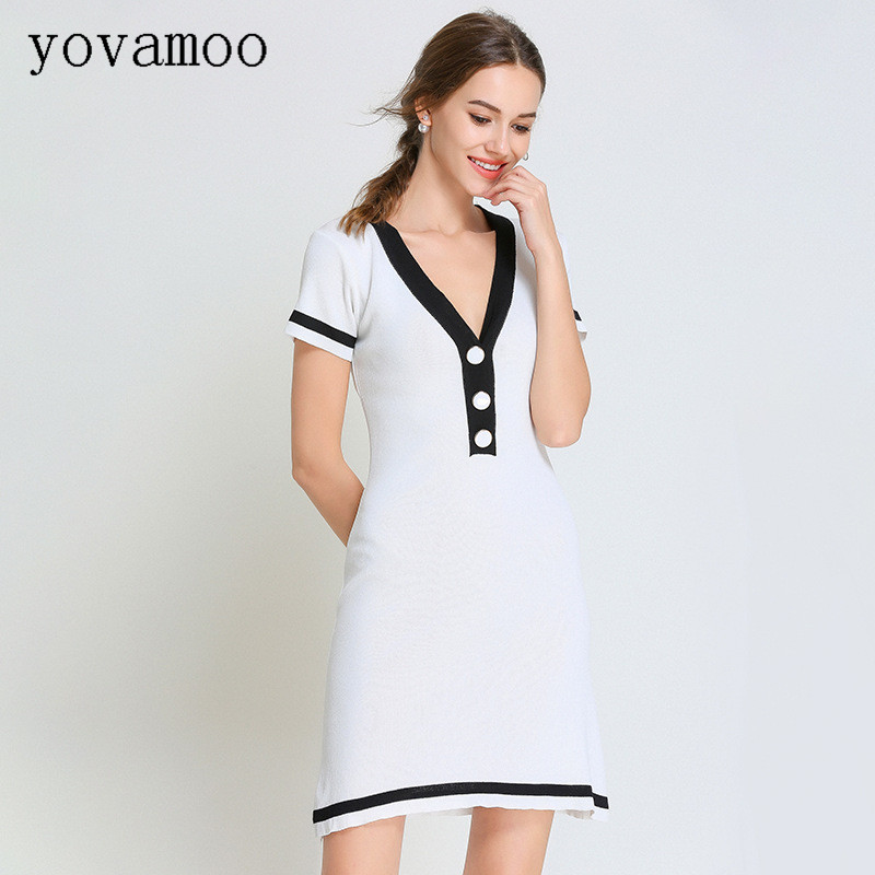 Yovamoo 2018 Summer Women's Elegant Knitted Dress V neck Classic Striped Color Block Short sleeved A Line Dresses Black White