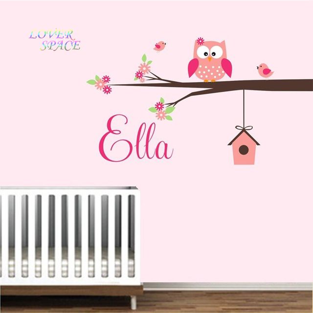 Owl branch birdhouse custom personalised name wall sticker nursery bedroom wall decal vinyl wall art for