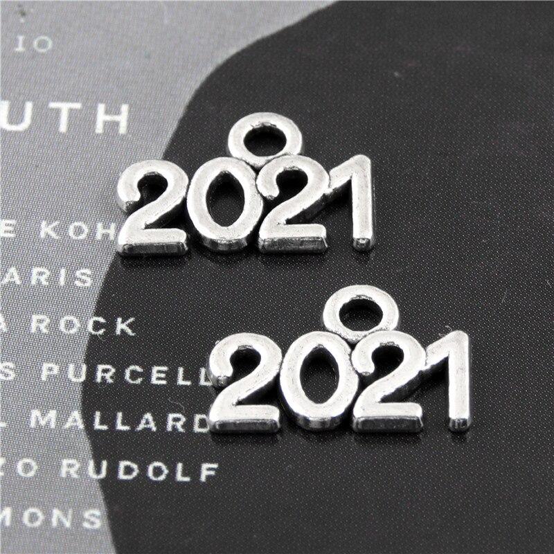 100 шт серебряный цвет цифровой 2021 год амулеты номер кулон ожерелье ручной работы делая результаты Ювелирные изделия 7x11 мм A3101