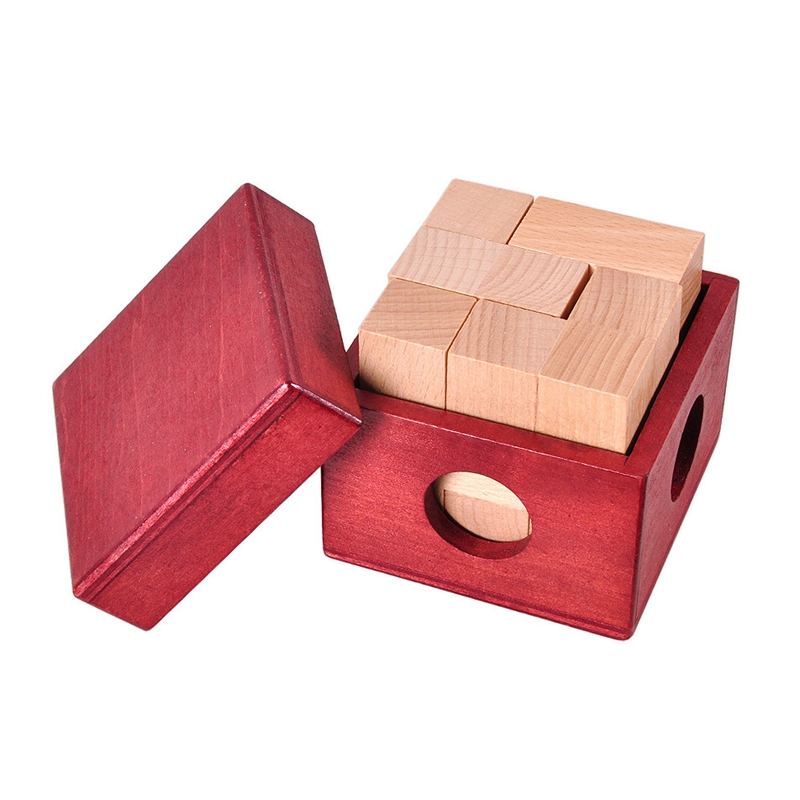 IQ Wooden Soma Cube Red Wooden Box with Cube Puzzle Logic Brain Teaser Wood Game Toys 3D Puzzles for Teens Adults Children Gifts(China)