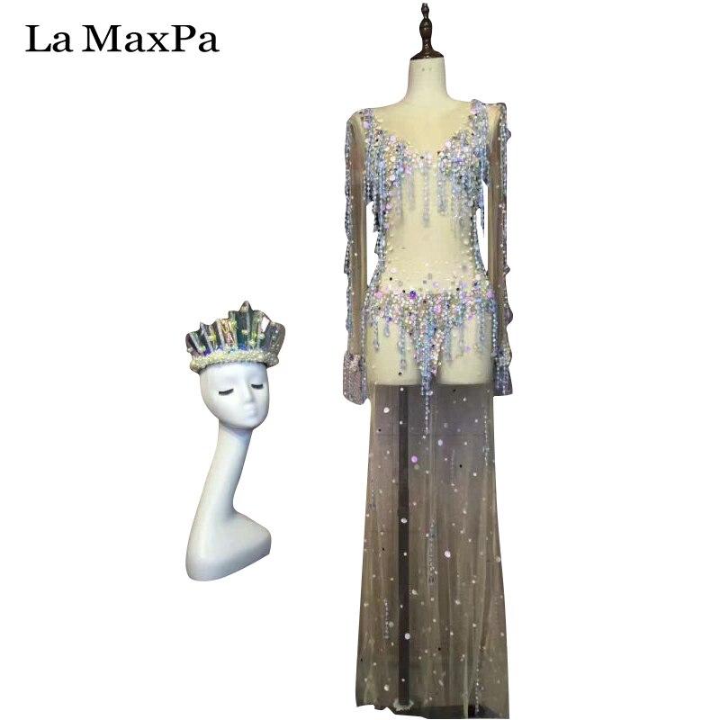 La MaxPa sexy femmes scène costume pour chanteurs femme chanteuse dj ds scène costume mode perspective jupe couronne sur mesure costume