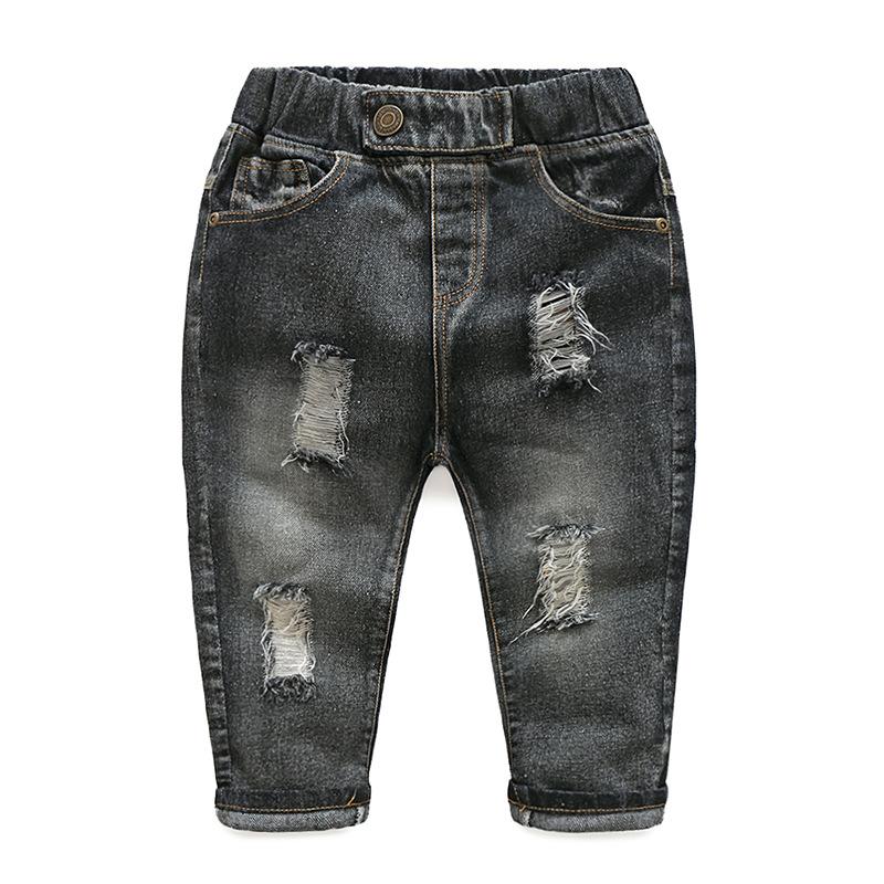 Hole Jeans For Boys Elastic Waist Kids Denim Trousers Kids Cowboy Harem Pants Solid Boy Jeans 2017 Spring Children Jeans 2-6 Y  (5)