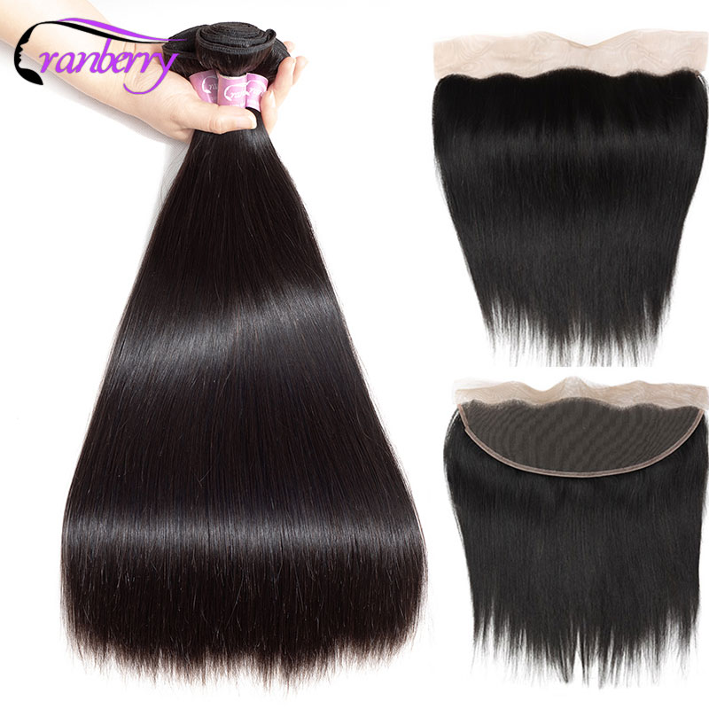 CRANBERRY Hair Non Remy Hair Straight Human Hair Bundles With Frontal Peruvian Hair Bundles With Closure Frontal And Bundles-in 3/4 Bundles with Closure from Hair Extensions & Wigs    1