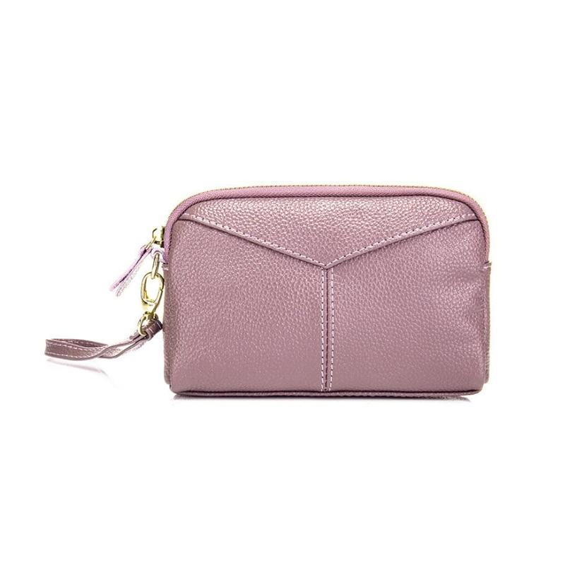 Genuine Leather Women Day Clutches Ladies Wristlet Clutch Soft Double Zipper Clutch Bag Ma mi Wristlets