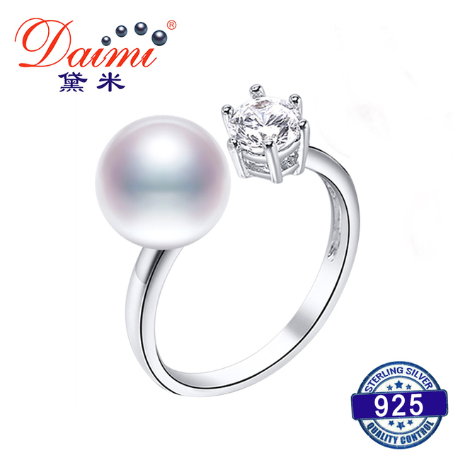 DAIMI 925 Silver Ring 8-9mm Cultured Pearl Ring Trendy Style Cute Jewelry