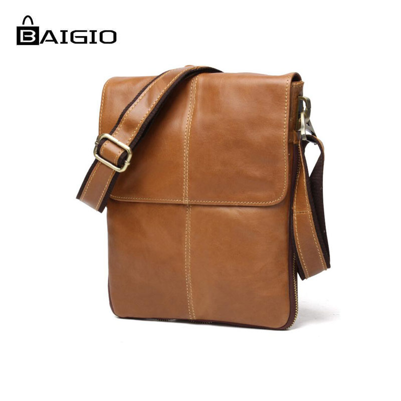 066db04b21 Baigio Men s Leather Vintage Shoulder Bag Crossbody Bags Men Messenger  Designer Bag Retro Style Brown Small Casual Briefcase on Aliexpress.com
