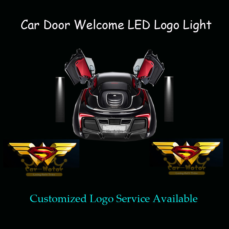 2x Car Door Courtesy 3D Wonder Woman & Superman Logo Laser Projector Puddle Spotlight Welcome Ghost Shadow LED Light (1039)