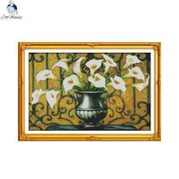Joy Sunday the Calla lily 4 Counted DIY Hand Cross Stitch 11CT 14CT DMC Printed Cloth for Embroidery Home Decor Needlework