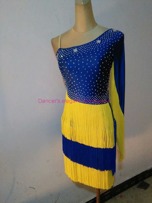 New Latin Dance Costumes Sexy Stones Single Sleeves Latin Dance Dress For Women Latin Dance Competition Dresses S-4XL 012