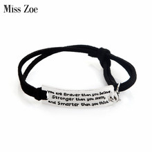 Miss Zoe you are braver than you believe, Stronger than you seem, and smarter Leather Bracelet Adjustable Inspirational Jewelry(China)