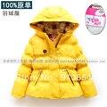 Бесплатная доставка новый 2014 осень зима ребенок одежда девочек пуховик с капюшоном детские верхняя одежда ребенка пуховик серый утка вниз