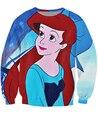 Mujeres Hombres 3D de Dibujos Animados Princesa Ariel hija del Rey Titan Sudaderas sudaderas Sudadera de Cuello Redondo de la sirena mar-criada Jumper