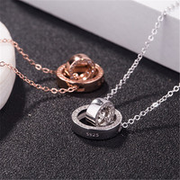 double circle micro wave setting CZ stone handmade sterling silver 925 chain necklace pendant as a gift for girlfriends