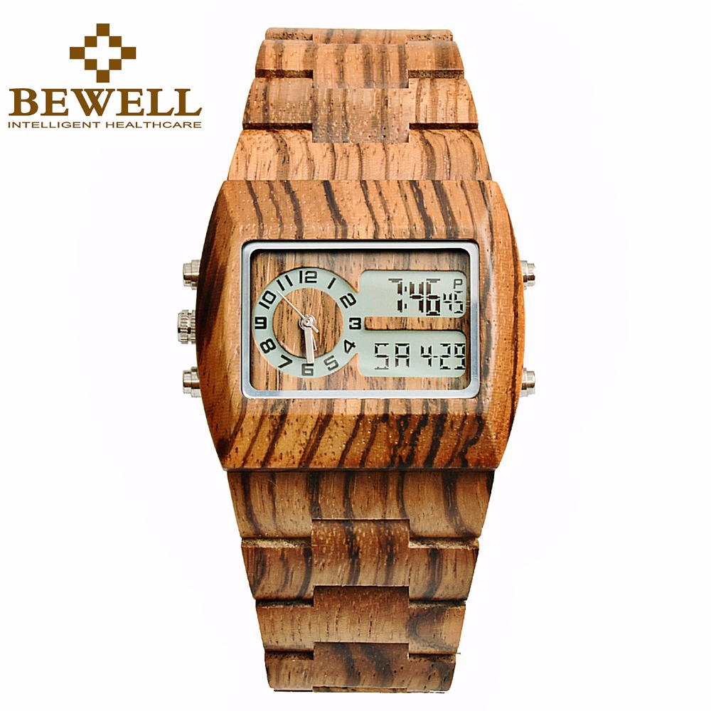 BEWELL Top Brand Luxury Wood Watch Men Rectangle Dial LED Back Light Analog and Digital Wrist Multifunctional stop watch 021A bewell multifunctional wooden watches men dual time zone digital wristwatch led rectangle dial alarm clock with watch box 021a