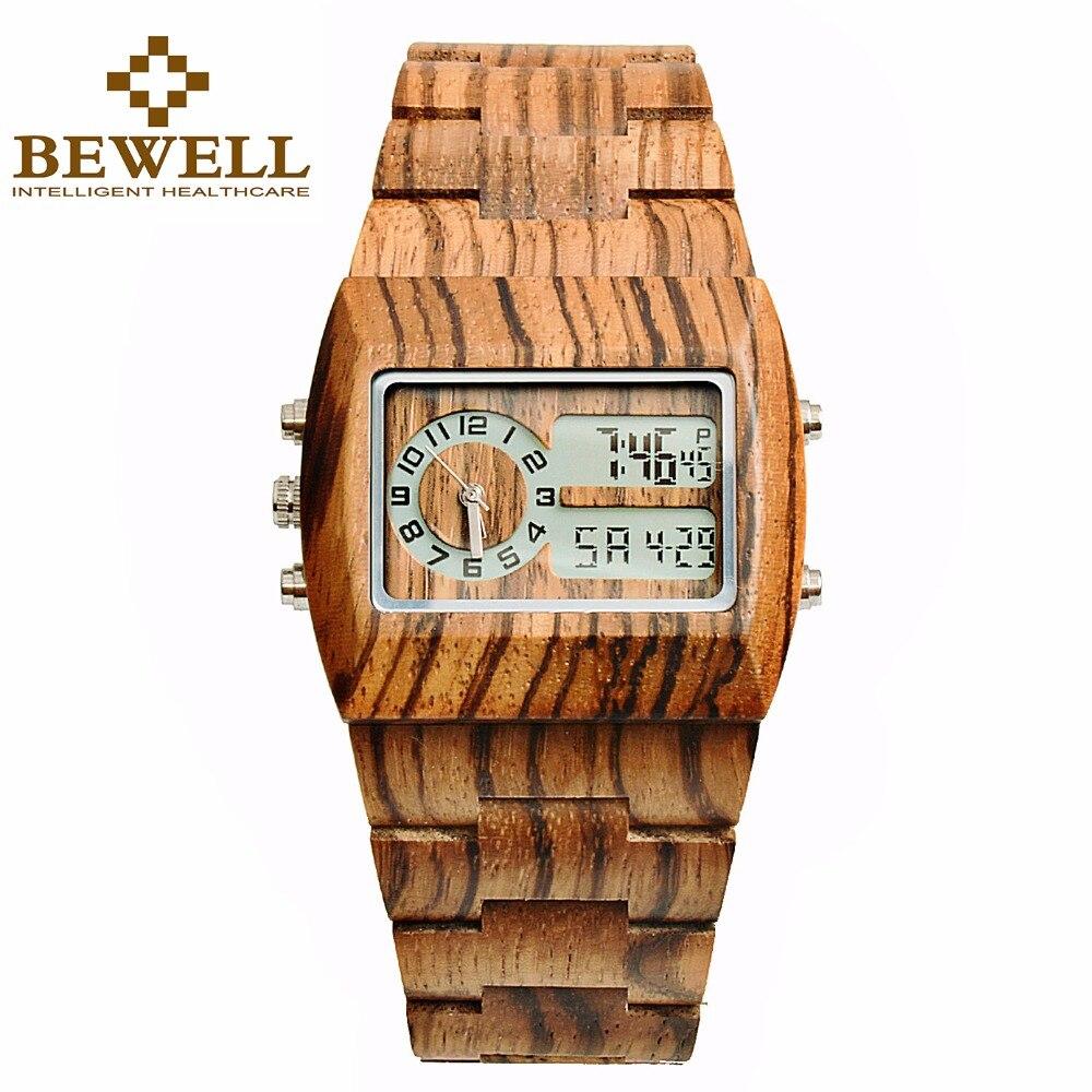 BEWELL Top marque de luxe en bois montre hommes Rectangle cadran rétro-éclairage LED analogique et numérique poignet multifonctionnel chronomètre 021A