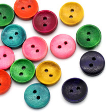 100Pcs Round 2 Holes Wood Sewing Buttons Wooden Crafts Scrapbook Making Findings Mixed Colors 15mm(5/8)