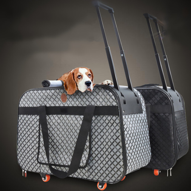 Pet Carrier Wheels Large Dog Stroller Travel Cart Cat Kennel Buggy