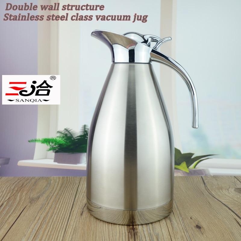 Sanqia 1.5L нержавіючої сталі термос термос пляшку термоса термос рука натискання типу кава чай пляшка вакуумний глечик