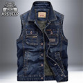 AFS JEEP 2016 Men's Denim Fashion Sleeveless Jacket,Wholesale Price Man's Solid Cargo Pockets Vests,Dark Blue/Light Blue Vests