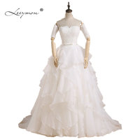 Real Samples Designers A Line Sweetheart Ruffles Detachable Lace Sleeves Wedding Dress 2015 Bridal Gown Vestido