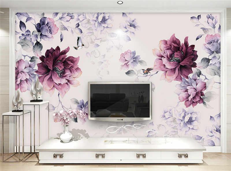 Flower Wallpaper Black and Purple Wallpaper Photo Wall Murals Girls Bedroom  Wallpaper Home Decor Ideas Home Room Design Study