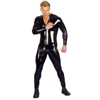 Black Full Body Latex Suit Latex Catsuit Mens Bodysuit Motorcycle Jacket Wet Look Fetish Stripper Wear
