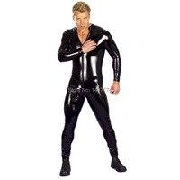 Negro Full Body Latex Catsuit traje de látex para hombre del mono chaqueta de la motocicleta Wet Look Fetish Stripper Wear etapa Pole Dance ropa