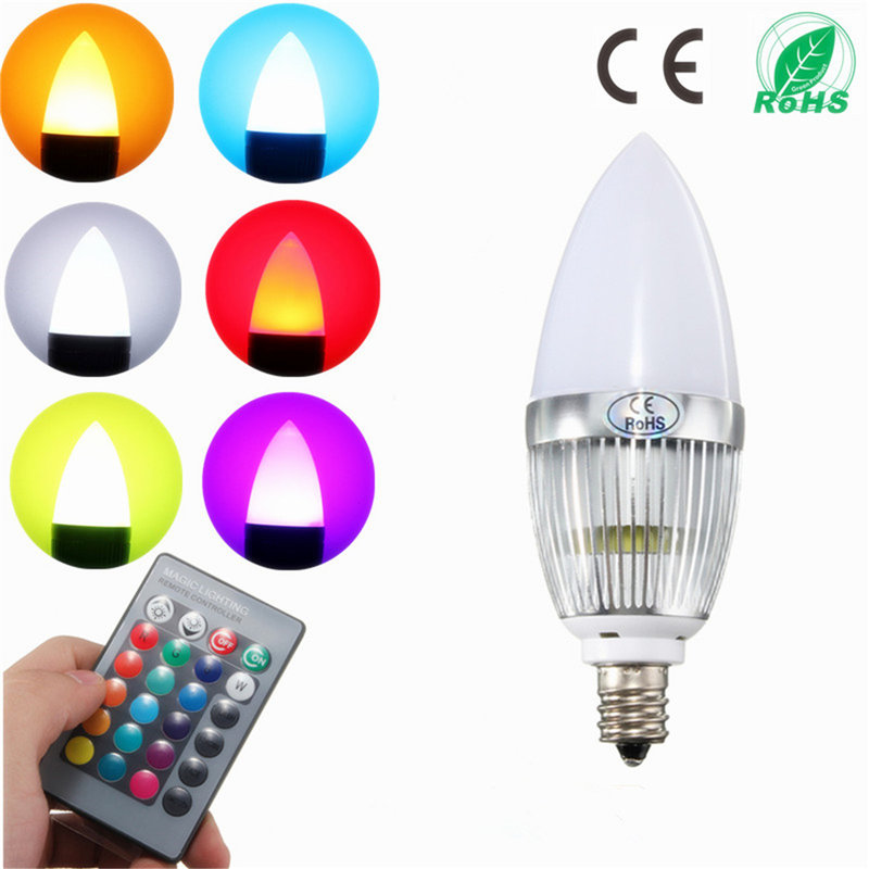 E12 RGB LED Bulb 3W Flash Color Changing Chandelier Candelabra Candle Light LED Lamp + Remote Controller Lighting AC85-265V e27 led bulb 10w rgb led bulb lamp 12 colors remote control led light for home decoration stage lighting led lamp