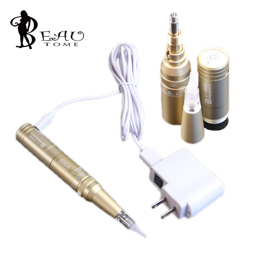 Beautome New Golden Professional Tattoo Machines Permanent Makeup Machine Eyebrows Cosmetic Pen Tattooing Starter Kits HS-0466 wholesale high quality cheap tattoo machines with best rotary tattoo machines price for permanent makeup free shipping china