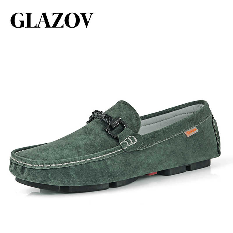 GLAZOV Brand Spring Summer Hot Sell Moccasins Men Loafers High Quality Genuine Leather Shoes Men Flats Lightweight Driving Shoes