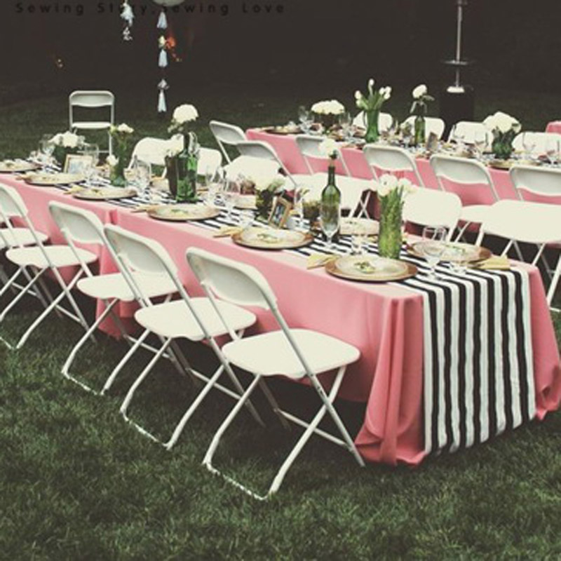 Black and white striped table runners made you