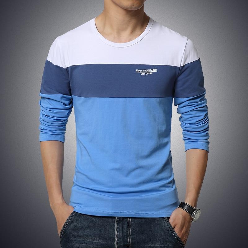 FAVOCENT Hot koop 2017 nieuwe herfst lange mouwen mannen ronde hals effen kleur stiksels T-shirt plus kleine maat M-5XL 3 kleuren